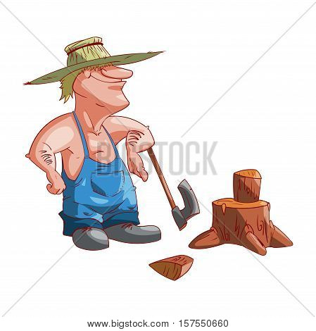 Colorful vector illustration of a cartoon farmer or redneck