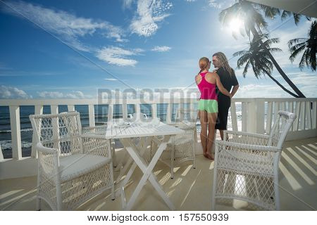 Young couple on terrace in the morning