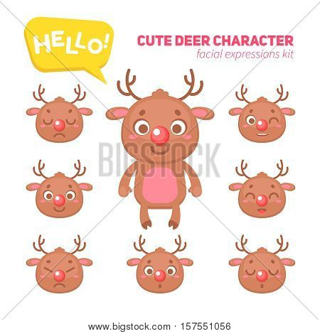 Cute Christmas deer character creation kit, construction elements and facial expressions for building  reindeer for kids toys, video games and halloween designs