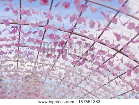 Art installation in the form of arch with flower petals. Fragment. Astana Kazakhstan
