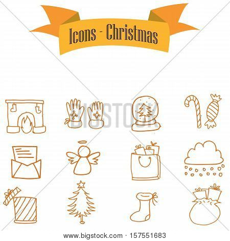 Vector of Christmas icons set collection stock