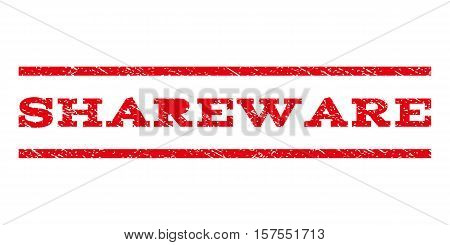 Shareware watermark stamp. Text tag between parallel lines with grunge design style. Rubber seal stamp with unclean texture. Vector red color ink imprint on a white background.