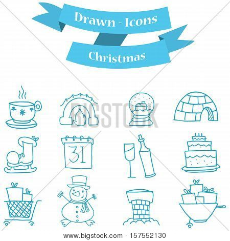 Collection stock of Christmas icons set illustration