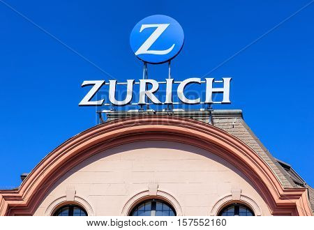 Basel, Switzerland - 27 August, 2016: Zurich Insurance Group sign on the top of a building. Zurich Insurance Group is the largest Swiss insurance company, headquartered in the city of Zurich.