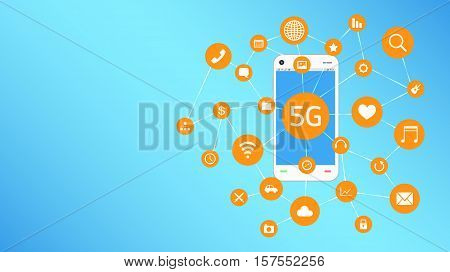 a smartphone and 5G with apps icon floating