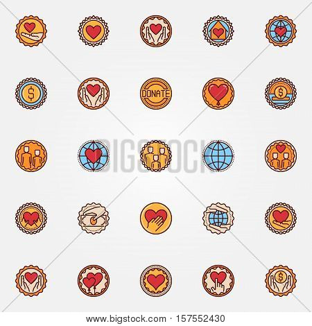 Charity and donation colorful badges. Vector set of philanthropy flat symbols. Hands with heart creative signs or labels