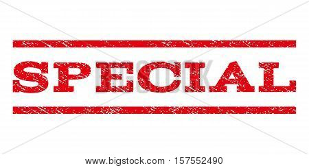 Special watermark stamp. Text caption between parallel lines with grunge design style. Rubber seal stamp with dust texture. Vector red color ink imprint on a white background.