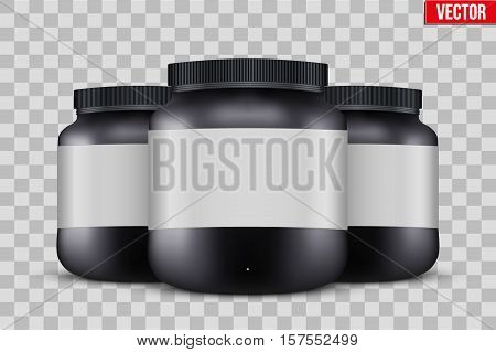 Template Background of Sport Nutrition Container. Plastic Whey Protein and Gainer Supplements. Plastic Jar. Black color. Vector Illustration isolated on transparent background.