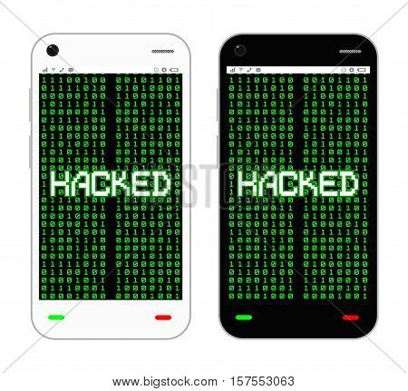 a black and white smartphone hacked vector