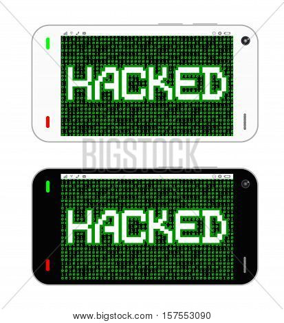 landscape black and white smartphone hacked vector