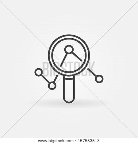 Magnifying glass with graph icon. Vector minimal magnifier and graph symbol in thin line style. Business analytics concept sign