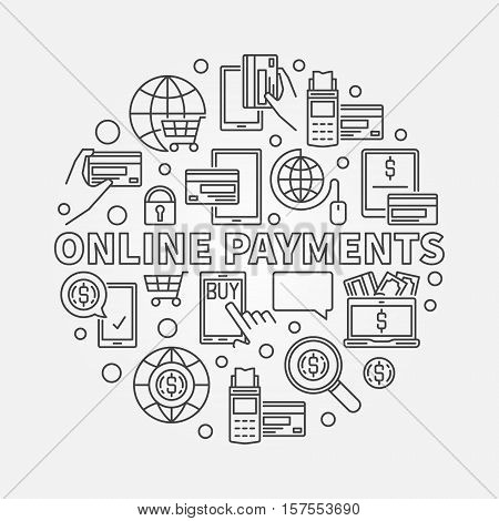 Online payments linear illustration. Buy online circular sign. Vector round online payment concept symbol in thin line style