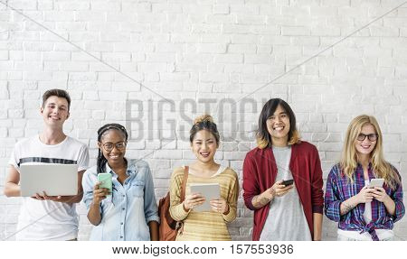 Young Diversity Standing Row Smiling
