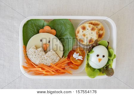 Easter chick healthy lunch box fun food art for kids