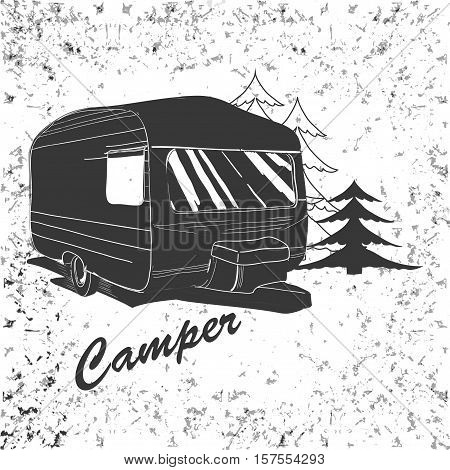 Vector illustration of Vintage lettering travel, Vehicles Camper Vans Caravans typographic, camp calligraphy, silhouette trailer, caravan. Print for textile with text