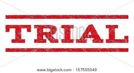 Trial watermark stamp. Text tag between parallel lines with grunge design style. Rubber seal stamp with dirty texture. Vector red color ink imprint on a white background.