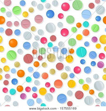 Vector medical seamless pattern with color pills on white. Background with pharmaceutical medicament: tablet and dragee. Medicine illustration of medicament drugs for hospital, pharmacy design.