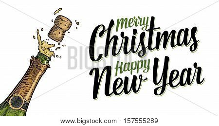 Bottle of Champagne explosion. Merry Christmas Happy New Year lettering. Vintage color vector engraving illustration for invitation to party. Hand drawn design element isolated on white background.