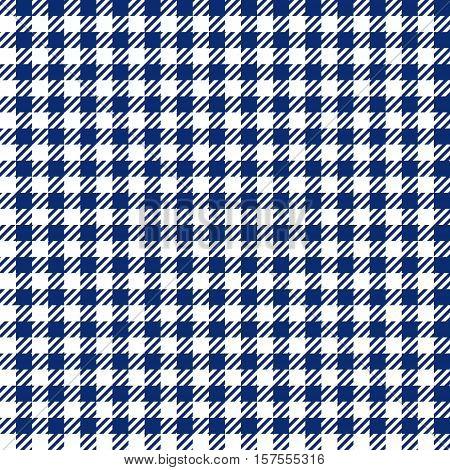 Blue check plaid seamless fabric texture. Vector illustration.
