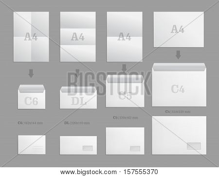 Set of white paper envelopes for business document or letter. Vector blank mockups. White empty post envelope with transparent window. Full and folded A4 size. Illustration isolated on gray background