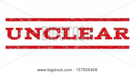 Unclear watermark stamp. Text caption between parallel lines with grunge design style. Rubber seal stamp with scratched texture. Vector red color ink imprint on a white background.
