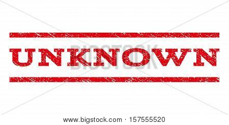 Unknown watermark stamp. Text tag between parallel lines with grunge design style. Rubber seal stamp with dust texture. Vector red color ink imprint on a white background.