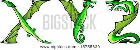 Dragons alphabet: X,Y,Z