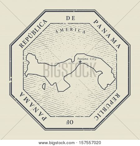 Stamp with the name and map of Panama vector illustration