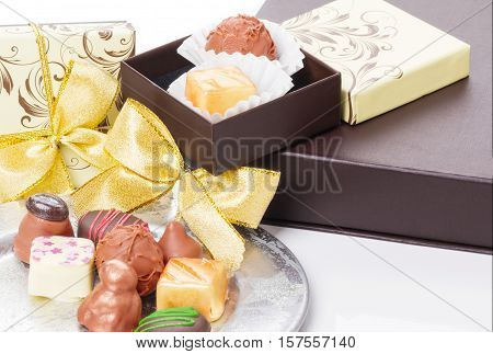 Chocolates and sweets truffles as a gift