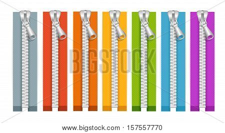 Clothes Colorful Zip Collection Closed Positions. Vector illustration