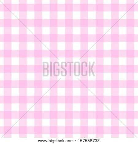 Seamless light pink gingham pattern. Pastel tone pink & white check background.