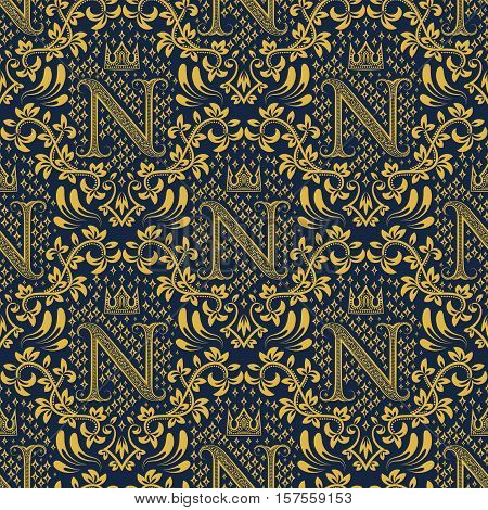 Damask seamless pattern repeating background. Golden blue floral ornament with N letter and crown in baroque style. Antique golden repeatable wallpaper.