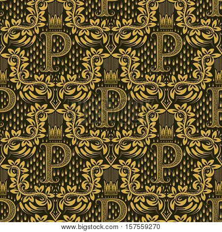 Damask seamless pattern repeating background. Golden olive floral ornament with P letter and crown in baroque style. Antique golden repeatable wallpaper.