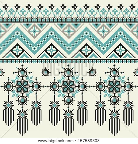 Vector Tribal ethnic seamless pattern. Ideal for printing onto fabric, paper, web design. National background.Vector Ethnic Embroidery for fashion women, print or web design. crystal print on fabric.