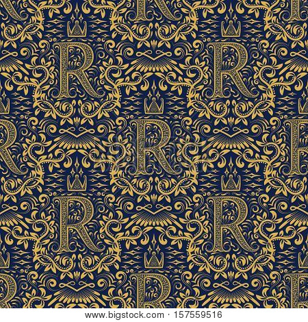 Damask seamless pattern repeating background. Golden blue floral ornament with R letter and crown in baroque style. Antique golden repeatable wallpaper.