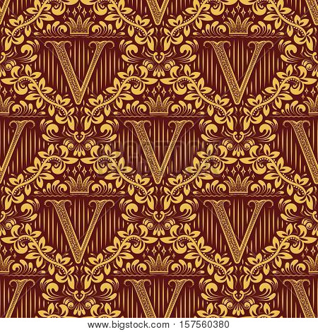 Damask seamless pattern repeating background. Golden maroon floral ornament with V letter and crown in baroque style. Antique golden repeatable wallpaper.