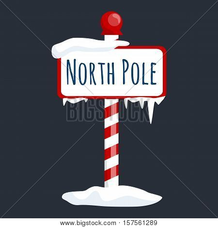 christmas icon north pole sign with snow and ice, winter holiday xmas symbol, cartoon banner.