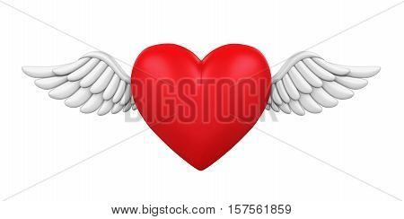 Red Heart with Wings isolated on white background. 3D render