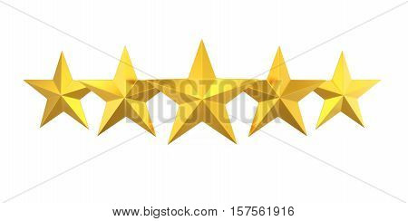 Five Golden Stars isolated on white background. 3D render