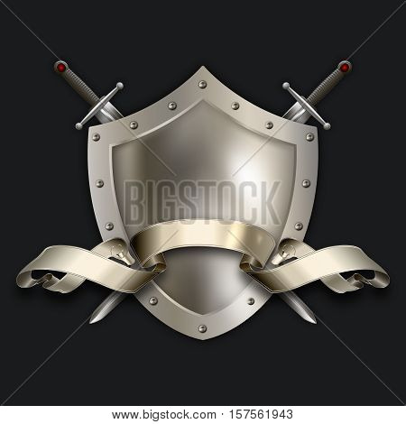 Antique riveted shield with two swords and scroll on black background.