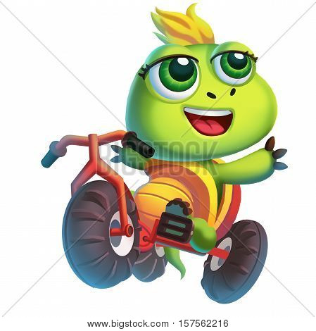 The Little Turtle Rides a Bicycle Underwater isolated on White Background! Video Game's Digital CG Artwork, Concept Illustration, Realistic Cartoon Style Background and Character Design