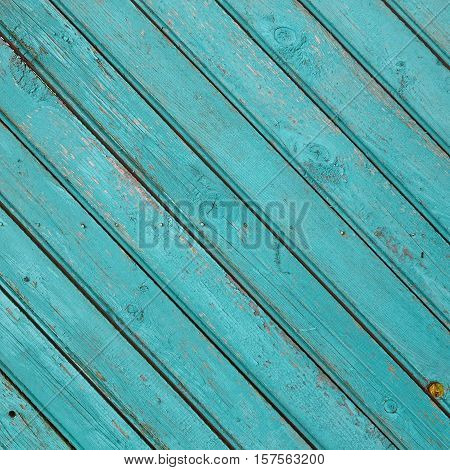 Diagonal Blue Green Barn Wooden Wall Planking Frame Texture. Old Retro Wood Slats Rustic Shabby Square Background. Paint Peeled Azure Weathered Surface. Interior Natural Wood Board Panel