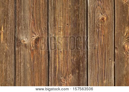 Vertical Barn Wooden Wall Planking Texture. Reclaimed Old Wood Slats Rustic Horizontal Background. Home Interior Design Element In Modern Vintage Style. Hardwood Dark Brown Timbered Structure.