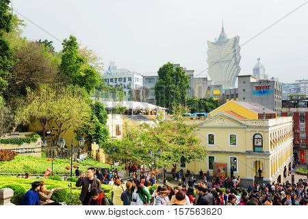 Macau - January 30, 2015: View On The Historic Centre Of Macau. Macau Is A Popular Tourist Attractio