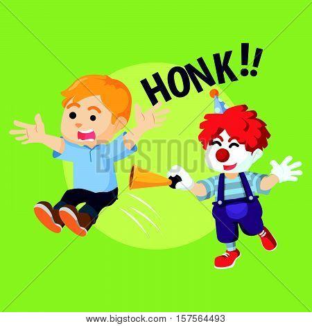 boy getting surprise by clown vector illustration design eps 10