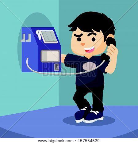 boy using payphone eps10 vector illustration design