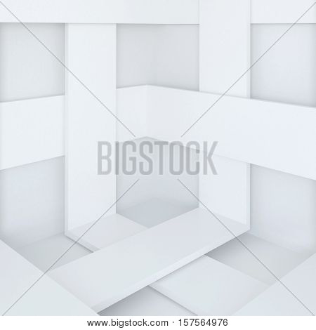 3d illustration. White abstract architectural background. Angle with intersecting stripes. Render.