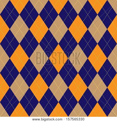 Seamless argyle plaid pattern. Traditional diagonal check print in navy blue, orange & beige with light yellow stitch.
