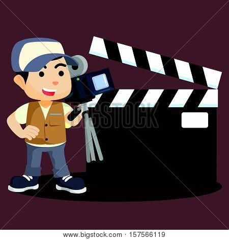a bot movie cameraman with sign vector illustration design eps 10