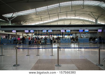 Ho Chi Minh City, Vietnam - November 2016: Departure check-in counter area inside Tan Son Nhat International Airport, Ho Chi Minh (Saigon), Vietnam.  Tan Son Nhat International Airport is the largest and the busiest airport in Vietnam